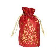 Новогодний подарок «Мешочек Елочка (золото на красном)» – Люкс 800г (текстиль)