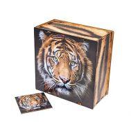 Новогодняя упаковка «Игровой бокс Амурский тигр с пазлом» 1000-1500г(дерево)