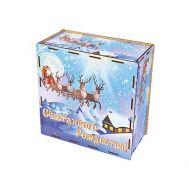 Новогодняя упаковка «Коробка Северный полюс» 1200-1500г(дерево)
