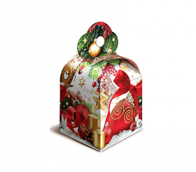 Новогодняя упаковка - Кубик Новогодний 800г, картон