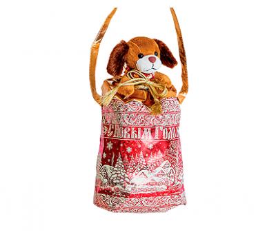 Новогодний подарок – Мешочек с собачкой (металлизированный) 1200г – Хит