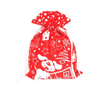 Новогодний подарок – Мешочек Снежный красный (текстиль) 1500г – Люкс