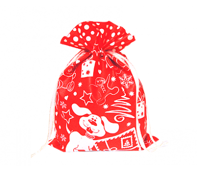 Новогодний подарок – Мешочек Снежный красный (текстиль) 1200г – Хит