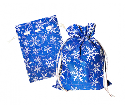 Новогодний подарок – Мешочек Снежный синий (текстиль) 1200г – Люкс