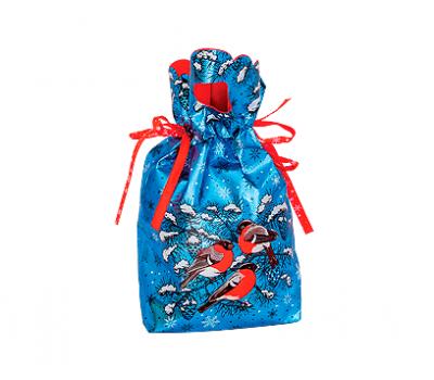 Мешочек Снегири синий, текстиль 1000г Люкс