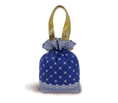 Мешочек Узорный синий, текстиль 1000г Люкс