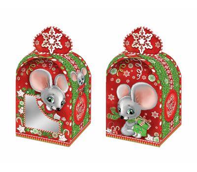 Новогодний подарок «Коробочка Вязаная» с окном – Вип 500г (картон)