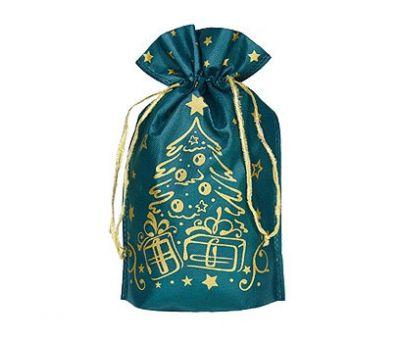 Новогодний подарок «Мешочек Елочка (золото на зеленом)» – Хит 700г (текстиль)