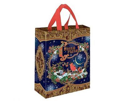 Новогодняя упаковка «Сумочка на кнопке Зимняя Рябина» 1000-2500г (текстиль)
