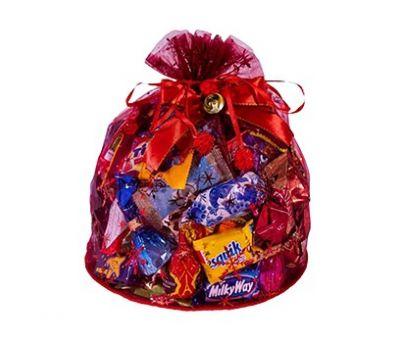 Новогодняя упаковка «Волшебный мешочек большой красный» 800-1500г (текстиль)